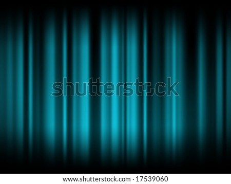 Blue curtain floodlit in dark - stock photo