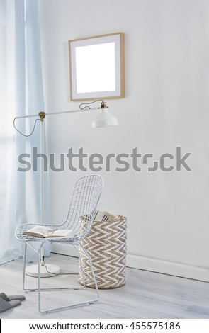 blue curtain interior natural basket with modern lamp and chair concept