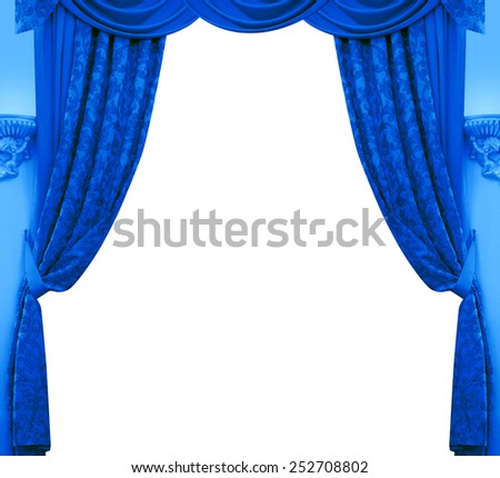 Blue curtain isolated on white background. - stock photo