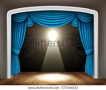 Blue curtain of classical theater with spotlight on wood floor - stock photo