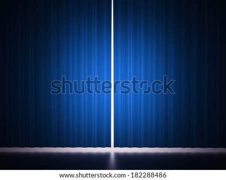 Blue curtain scene rendered