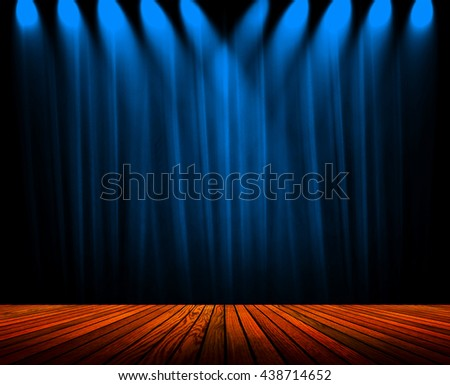 blue curtain with wood plank stage  - stock photo