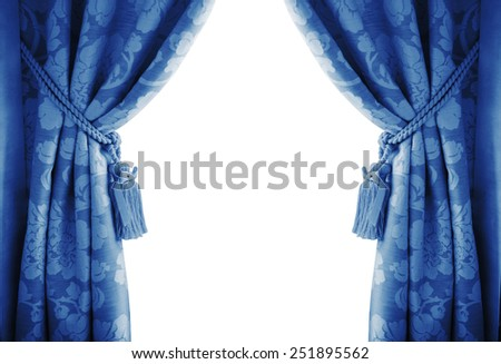 blue curtains on a white background. - stock photo