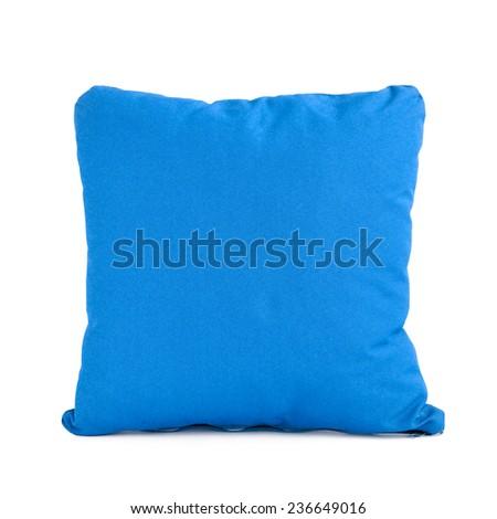 Blue cushion isolated on white background - stock photo