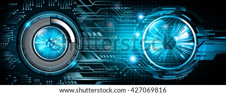 blue Cyber eye digital data technology background