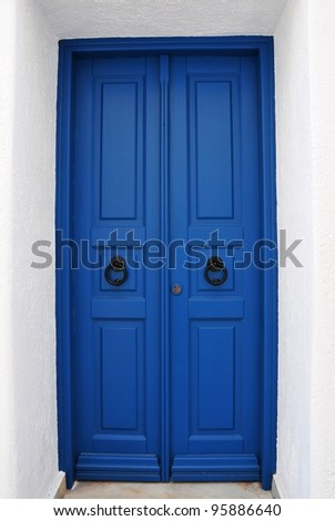 Blue cyclades door - stock photo