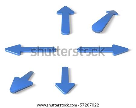 blue 3D arrows - stock photo