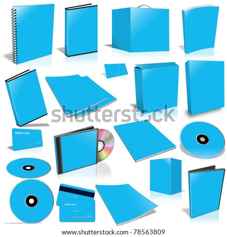 Blue 3d blank cover collection, isolated on white - stock photo