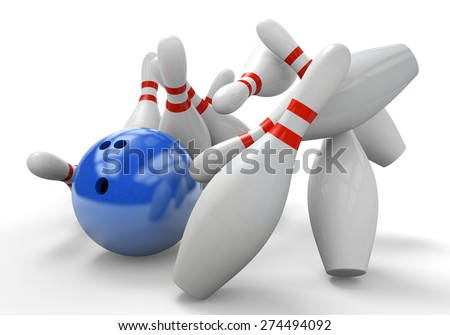 Blue 3D bowling ball smashing into pins for a strike - stock photo