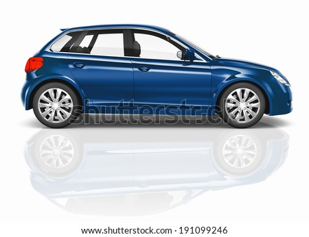 Blue 3D Hatchback Car Illustration - stock photo