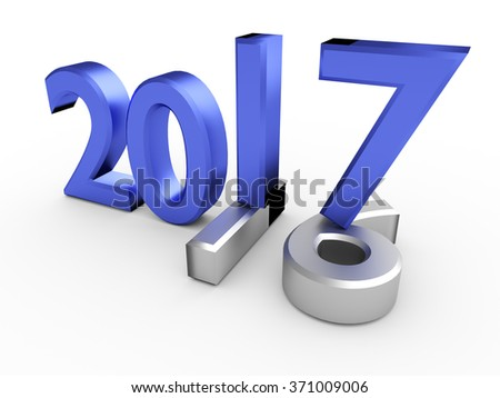 Blue 3d numbers of Year 2017 over grey old 2016 - stock photo