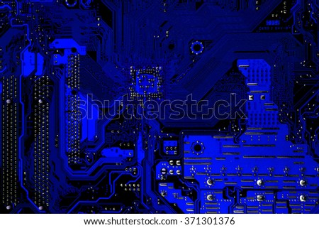 Blue dark Computer motherboard  for background or texture - stock photo