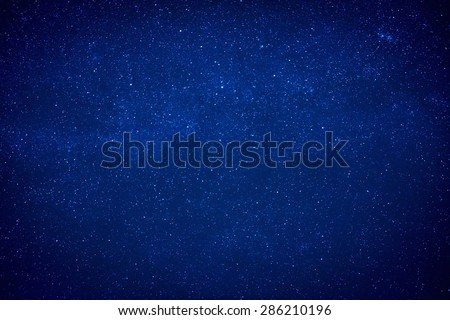 Blue dark night sky with many stars. Milky way like space background - stock photo