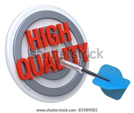 Blue dart on a target with text on it. The concept of quality control. Computer generated 3D photo rendering.