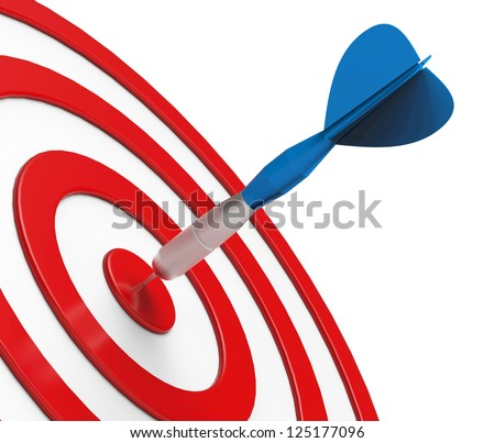 Blue Dart on Red Target Close-up - stock photo