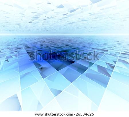 Blue Data Infinity - 3D fractal landscape - stock photo