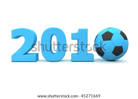 blue date 2010 with a football replacing number 0 - stock photo