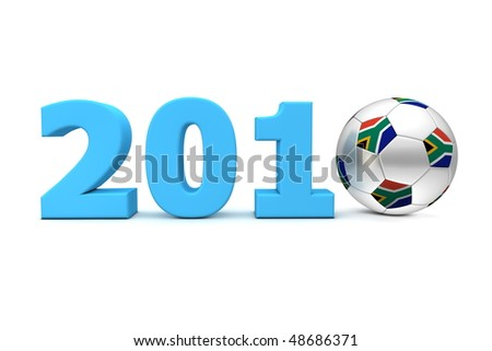 blue date 2010 with a football replacing number 0 - south african flag on the ball - stock photo