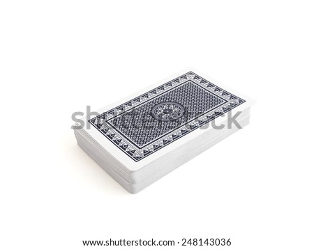 Blue deck of playing cards over white background with clipping path - stock photo