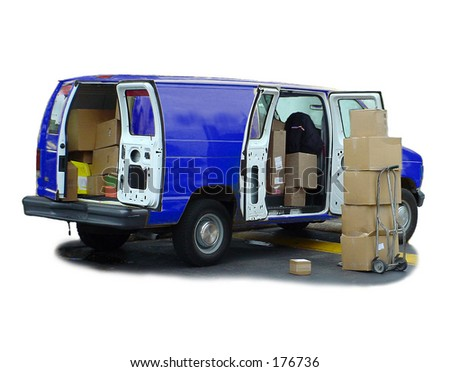 Blue delivery van & shipping boxes. - stock photo