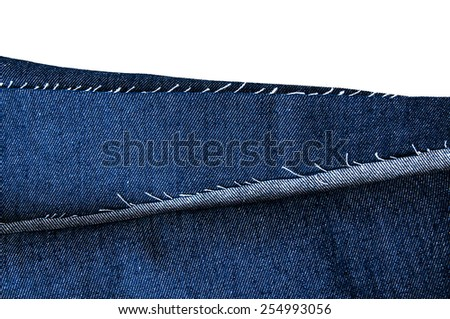 Blue Denim Jean Fabric, Prepare Cut to use. / Concept and Idea of Denim Industry, Sewing and Fashion, Vintage Rustic Style. Isolated on White for Pattern, Background, Wallpaper and Textured. - stock photo