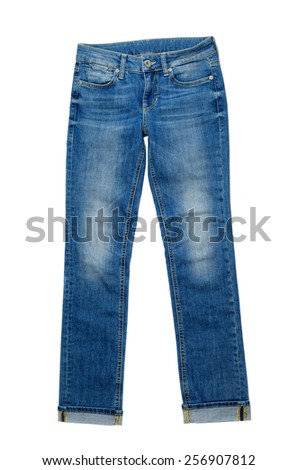Blue Denim Jeans. Isolate on white. - stock photo