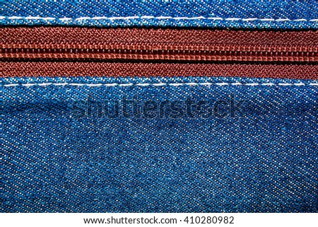 Blue denim jeans texture background with zipper,close up,select focus with shallow depth of field