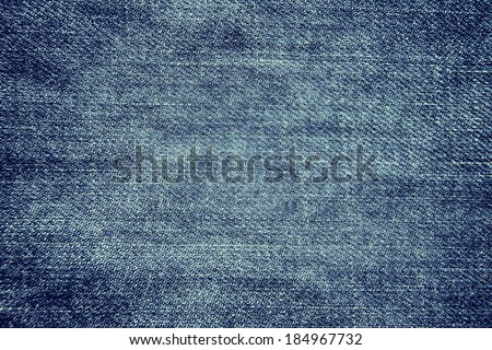 Blue denim texture background, close up - stock photo