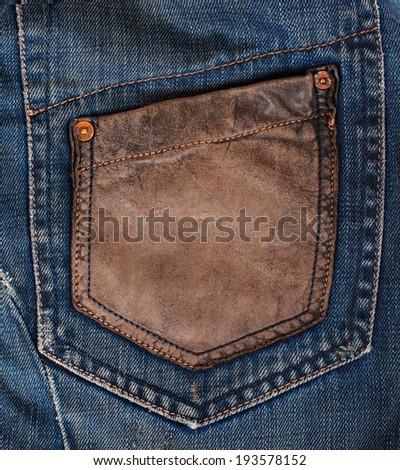 Blue Denim Texture, Background, Jeans, pocket - stock photo
