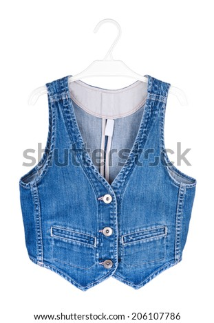 blue denim vest isolated on a white background - stock photo