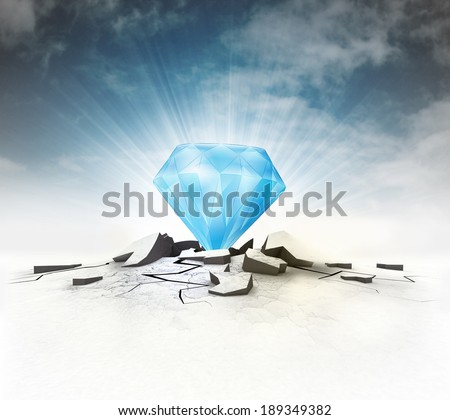 blue diamond stuck into ground with flare and sky illustration - stock photo
