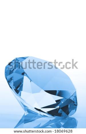 Blue Diamond with copy space - stock photo