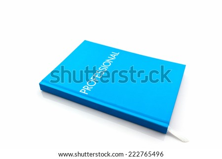 "Blue diary book with the word"" professional"" on white background."