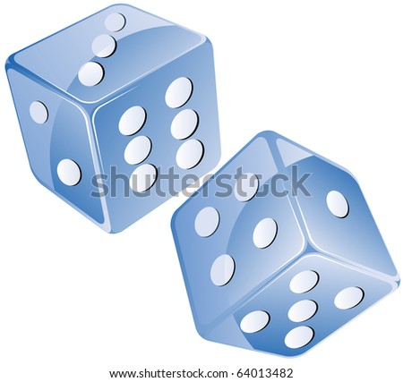 Blue dices, isolated objects against white background - stock photo