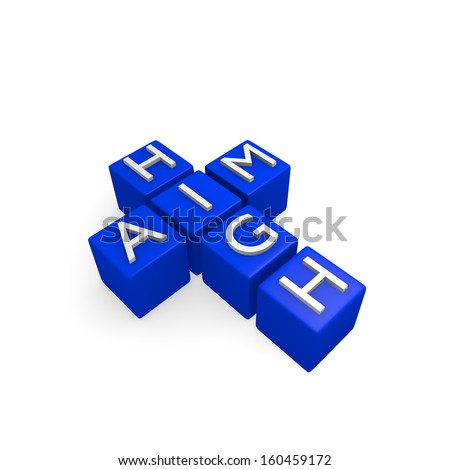 Blue dices with aim high, business concept