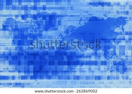 Blue Digital World Background. Abstract Digital Technology Background Illustration. - stock photo