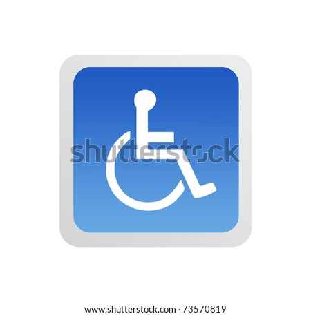 Blue Disabled sign on white background, Illustration - stock photo
