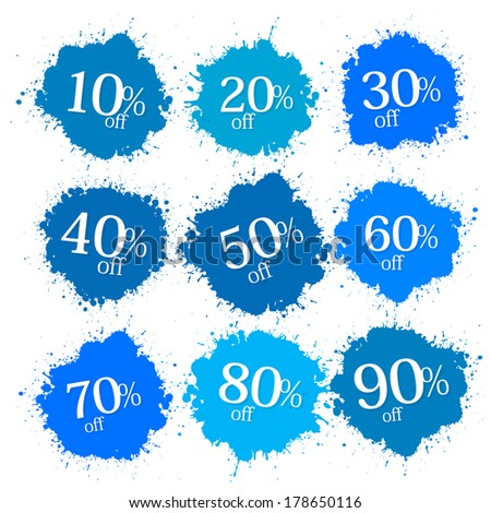 Blue Discount Labels, Stains, Splashes  - stock photo