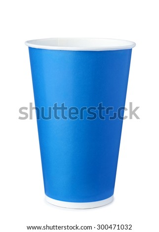 Blue disposable paper cup isolated on white - stock photo
