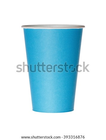 Blue disposable paper cup isolated on white. - stock photo