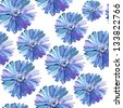 blue  ditsy floral seamless background - stock photo
