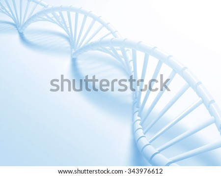 Blue Dna structure abstract background, 3D illustration. - stock photo