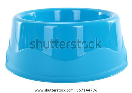 Blue dog bowl for pets - stock photo