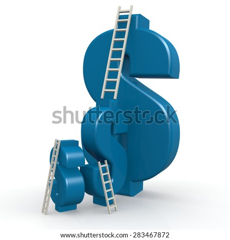Blue dollar signs with ladder image with hi-res rendered artwork that could be used for any graphic design. - stock photo