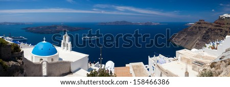 Blue Dome Church at Firostefani near Fira on Thira Island Santorini Greece