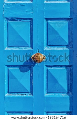 Blue door in Mykonos, Greece, Europe - stock photo