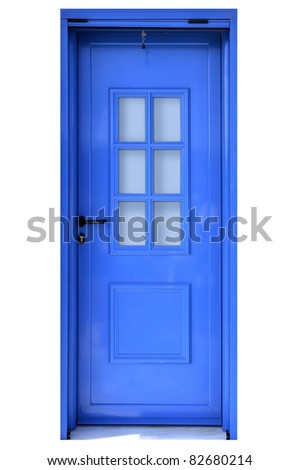 Blue door on white background in the Mediterranean style. - stock photo