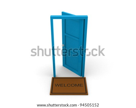 Blue Door - This is a 3d render illustration - stock photo