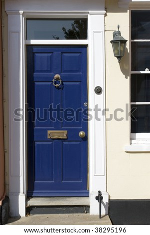 Blue doors, old victorian house. Suffolk, England. - stock photo
