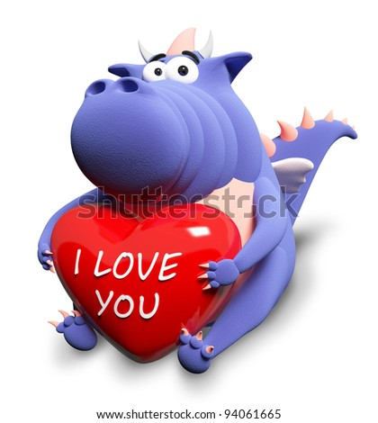 "Blue dragon and big red heart with text ""I love you"", isolated on white"